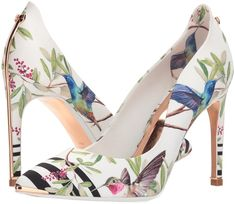 Ted Baker Women's Hallden Pump, Highgrove Hummingbird, 5 Medium US - 917232 - Pumps - With striking metal strip detail at the back counter and heel this overlasted printed satin court is sure to turn heads, with modern considered print Clarks Shoes Women, Vans Shoes Women, Ladies Shoes, Yezzy Shoes Women, Ted Baker Heels, Floral Pumps, Special Occasion Shoes, Ted Baker Womens, Fashion Shoes