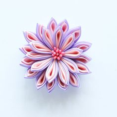 Fabric Flower Hair Clip - Brooch - Tsumami Kanzashi Plum and Peach Color