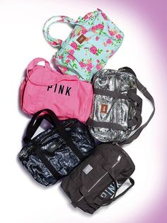 Pink on Grey Mini Duffle Bag - Victoria's Secret http://stores.ebay.com/VSPINK-STORE
