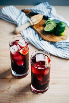 We're celebrating seven years of Brooklyn Supper with classic red wine spritzers made with fresh lime and bitters. Refreshing Drinks, Summer Drinks, Fun Drinks, Healthy Drinks, Beverages, Mixed Drinks, Milk Shakes, Wine Cocktails, Cocktail Recipes