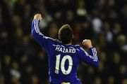 Eden Hazard of Chelsea celebrates his goal during the Capital One Cup Quarter-Final match between Derby County and Chelsea at Pride Park Stadium on December 16, 2014 in Derby, England.