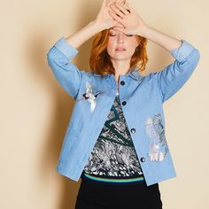 A collaborative piece hand printed denim jacket using metallic foil over embroidered by Ellie Mac Embroidery. With every wear the denim softens. Ellie And Mac, Fabric Manipulation, Print Jacket, Embroidery, Denim, How To Wear, Jackets, Printed, Fashion