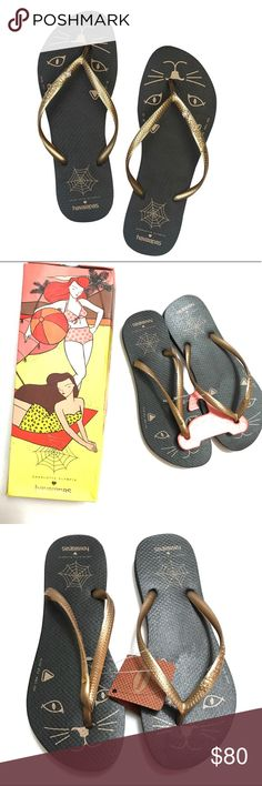 2fc415ce0c41 CHARLOTTE OLYMPIA HAVAIANAS BLACK KITTY FLIP FLOPS Size 7 8 NIB Charlotte  Olympia references her