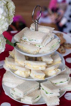 tea sandwiches : egg salad, chicken salad. cucumber, turkey??