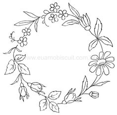 simple wreath of daisy, rosebuds, other flowers and leaves