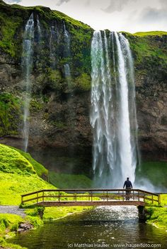 Waterfall in Iceland, Metal Print for sale. Beautiful Seljalandsfoss in a lovely summer landscape: fresh green meadows, a lovely bridge and a small river. Great gift for every Iceland lover! Art for your Home Decor and Interior Design by Matthias Hauser. Beautiful Waterfalls, Beautiful Landscapes, Beautiful World, Beautiful Places, Landscape Photography, Nature Photography, Amazing Photography, Iceland Photos, Iceland Waterfalls