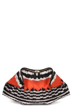 Alexander McQueen 'De Manta' Feather Print Silk Clutch