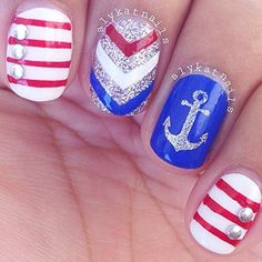 Anchor Stickers for Nails, Nail Stencils, Nautical Nails, Nail Art, Nail Vinyls - Medium (20 Stickers & Stencils) : Beauty
