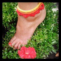 Lotus anklet / bracelet in yellow, orange & red. 100% cotton ~ Handmade crochet www.facebook.com/thelittlebeenz
