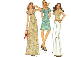 Vintage 70s Disco Maxi Dress Sewing Pattern Scoop Neck Flutter Sleeves Shoulder Ruffle XS McCall's 4003. $14.66, via Etsy.