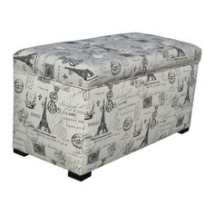 Add a whimsical finish to your decor with this upholstered storage trunk. Featuring a Parisian-themed print, this trunk has a beautiful button-tufted top and a sturdy wood frame. Add functional storage space to any room with this elegant trunk.