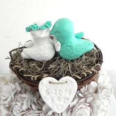 Rustic Wedding Cake Topper Mint Green and White Love by LavaGifts, $72.00