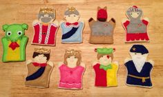 Kingdom finger puppet set embroidered puppet, kids, children, toys, games, make believe, pretend play felt, story time king, queen, princess - pinned by pin4etsy.com
