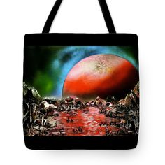 The Other Land Tote Bag Printed with Fine Art spray painting image The Other Land Nandor Molnar (When you visit the Shop, change the size, background color and image size as you wish)