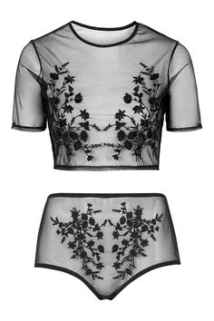 Embroidered Mesh Crop Top and Pant - Topshop