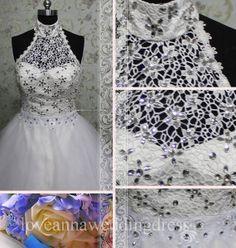 luxurious high neck sleeveless rhinestone by Loveannaweddingdress, $355.00