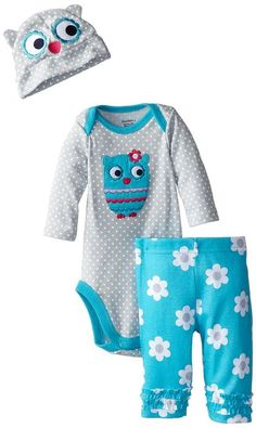 Gerber Baby-Girls Newborn 3 Piece Set Bodysuit Cap and Legging - Owls, Green, 3-6 Months $9.99