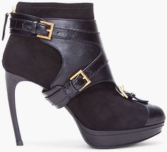 0d16b766581f Alexander McQueen - Black Stirrup Buckle Boot Buckle Ankle Boots