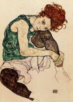 Donna seduta, Egon Schiele, 1917, pastello, Národni Galerie, Prague, Czech Republic