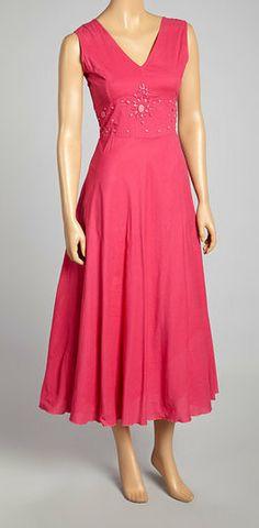 Pink Embellished Empire-Waist Dress