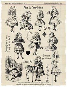 Illustrated Alice - Alice in Wonderland rubber stamp collection. $24.00, via Etsy.