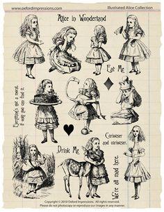 Illustrée Alice - Alice au pays des merveilles collection de timbre en caoutchouc