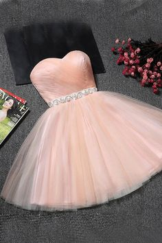 Sweetheart Prom Dresses Tulle Prom Dresses Homecoming/Prom Dresses #hhomecomingdresses #shortpromdresses sweetheartdresses promdresses2018