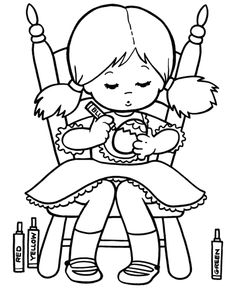 Cute Little Girl Coloring Egg Easter Coloring Pages