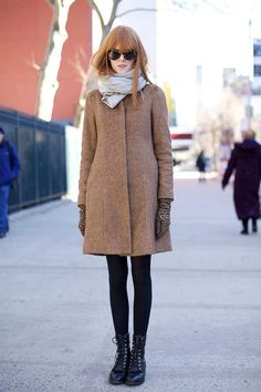 camel coat + black boots