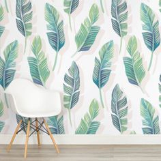 white-and-green-tropical-leaf-design-square-wall-murals