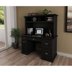 Computer Desk With Hutch Wood Home Desks Office Table Storage Executive Modern Extra Storage Space, Table Storage, Storage Spaces, Desk With File Drawer, Walmart Home, Home Office, Office Table, Computer Desk With Hutch, Oak Desk