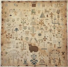 EARLY 19TH CENTURY SILK WORK TREE OF LIFE SAMPLER BY MARY ANN JOHNCOCK 1841