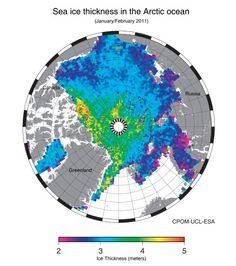 """Eisdicke in der Arktis (im Juni 2011): Mit nie gekannter Präzision hat der in Deutschland gebaute Satellit """"Cryosat"""" das Meereis der Arktis vermessen. Zum ersten Mal gibt es nun detaillierte Angaben zur Dicke der Schollen."""