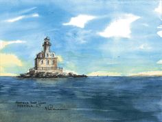 Penfield Light, Fairfield Watercolor prints and note cards of over 250 lighthouses all over the USA.  Start your collection today. Original paintings by sailor/artist  Alfred La Banca, Darien, CT
