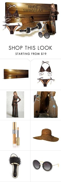 """""""Untitled #1464"""" by santospretty ❤ liked on Polyvore featuring Beach Bunny, Forever 21, Flash Tattoos, Yves Saint Laurent, Lanvin and Miu Miu"""