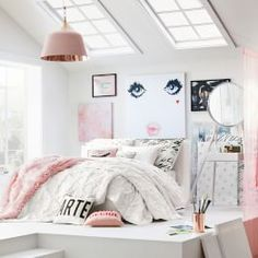Find cute and cool girls bedroom ideas at Pottery Barn Teen. Shop your dream room with our teen room inspiration and ideas. Pink Bedroom For Girls, Teenage Girl Bedrooms, Bedroom Ideas For Teen Girls Tumblr, Teen Bedroom Designs, Bedroom Images, Ideas Habitaciones, Teen Bedding, Bedding Sets, Dream Rooms