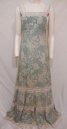 Vintage Prairie Maxi Dress 70s Hippie BOHO Wedding Long Floral Hem Ruffle Medium…