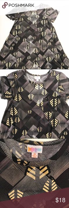 Lula Roe xs Black and Tan geometric Carly EUC! Worn only once LuLaRoe Dresses High Low