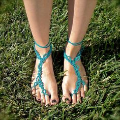 The Vine  Tatted Lace Barefoot Sandals  Ocean Teal by TotusMel, $35.00