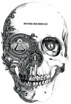 Nice skull drawing, is that parts of the american dollar I see? Kunst Tattoos, Skull Tattoos, Tattoo Drawings, Body Art Tattoos, Sleeve Tattoos, Art Drawings, Evil Skull Tattoo, Jail Tattoos, Dope Tattoos