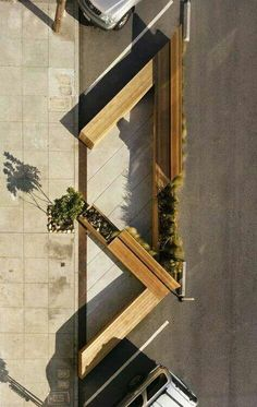 Reclaimed parking spaces. Environmental design.