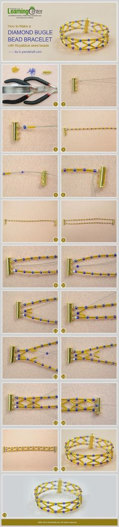 How to Make a Diamond Bugle Bead bracelet with Royalblue Seed Beads~~~http://bit.ly/1tnIe58 - Eva Maria Keiser - Google+