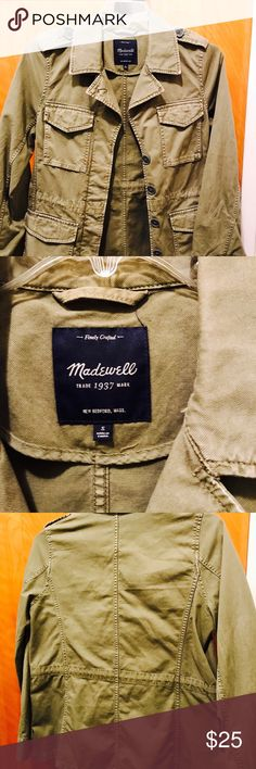 Madewell Field Jacket, size Small Cute Madewell Field Olive Green Jacket size Small stain in the front. Not sure it it's a permanent stain or just needs washing. Madewell Jackets & Coats Utility Jackets