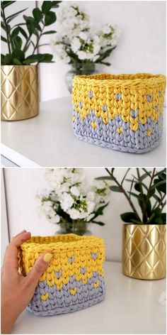 Well, have you ever think about choosing crochet material for the home use? If not, then here we have some outstanding and best ideas of the crochet patterns and designs for you that are incredible to be used for your clothing. Crochet Bowl, Cute Crochet, Knit Crochet, Knitting Patterns, Crochet Patterns, Crochet Ideas, Box Patterns, Crochet Bracelet, Crochet Handbags