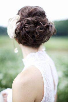 wedding hair idea - curly low updo