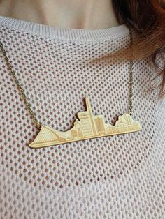 Items similar to Dublin Skyline Laser Cut & Engraved Wooden Necklace on Etsy Wooden Necklace, Engraved Necklace, Dublin Skyline, Digital Fabrication, Laser Engraving, Laser Cutting, Arrow Necklace, My Design, Bronze