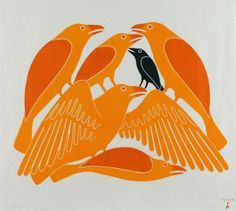 Ravens' Chorus by Kenojuak Ashevak 2002 coloured stonecut Arte Inuit, Inuit Art, Crow Art, Bird Art, Native Art, Native American Art, Native Indian, Illustrations, Illustration Art
