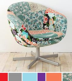 Patchwork - great fabric ok chair, I want to see more wood!