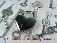 Heart Shaped Nickel Padlock Clasp by aislinnscollared on Etsy