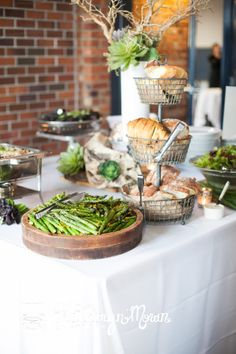 Delicious fresh spring asparagus and hearty @Macrina Bakery and Cafe  bread on our buffet at Golden Gardens Bathhouse. Ravishing Radish Catering. Katy Moran Photography.